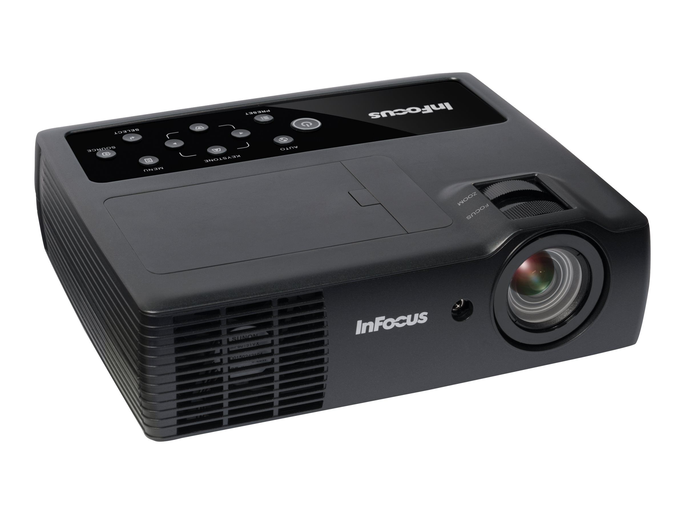 InFocus IN1116 WXGA 3D DLP Projector, 2400 Lumens, Black, IN1116