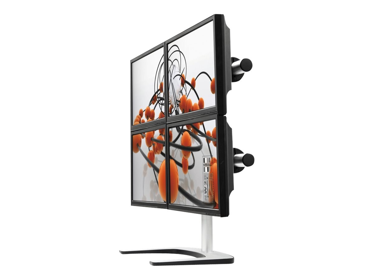 Atdec Visidec Freestanding Vertical Quad Monitor Mount, 12-24in Flat Panel, Silver