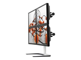 Atdec Visidec Freestanding Vertical Quad Monitor Mount, 12-24in Flat Panel, Silver, V-FS-Q, 8615835, Stands & Mounts - AV