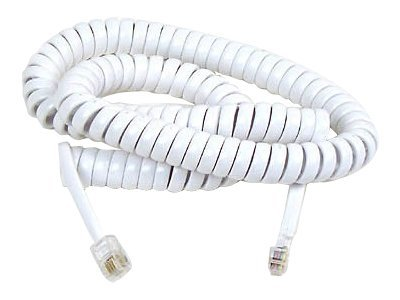 Belkin Pro Series Telephone HandSet Cord, 25ft, White, Spiral Cable, F8V101-25-WH, 5193930, Cables