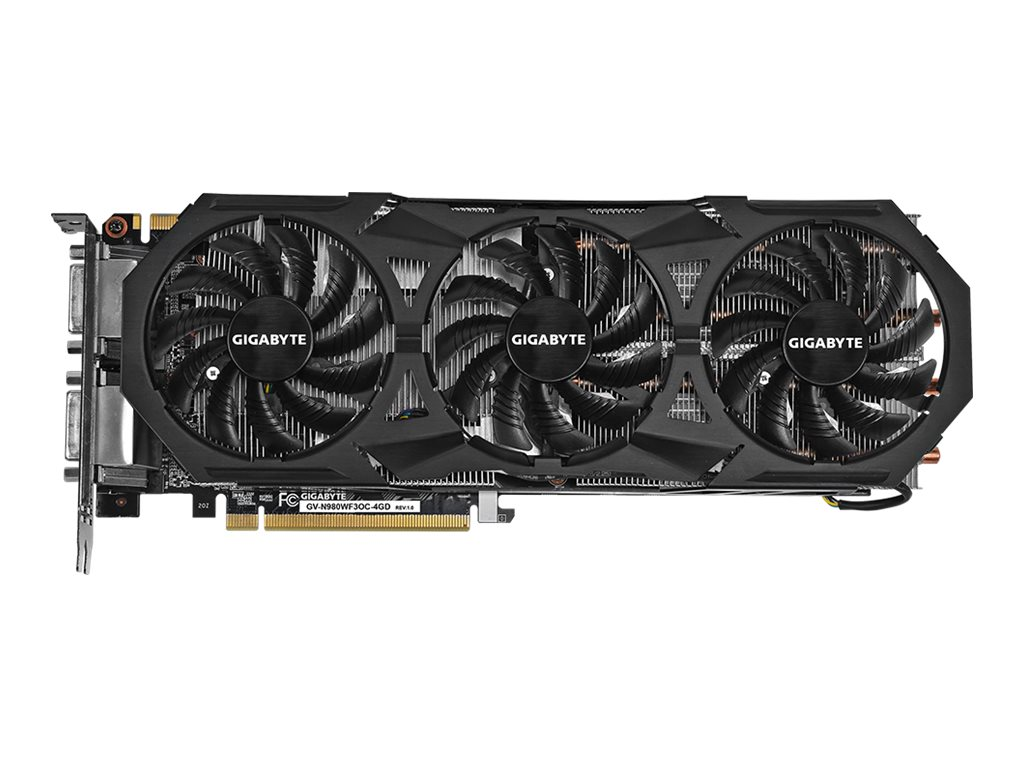 Gigabyte Tech GeForce GTX 980 PCIe 3.0 Overclocked Graphics Card, 4GB GDDR5, GV-N980WF3OC-4GD, 18034014, Graphics/Video Accelerators