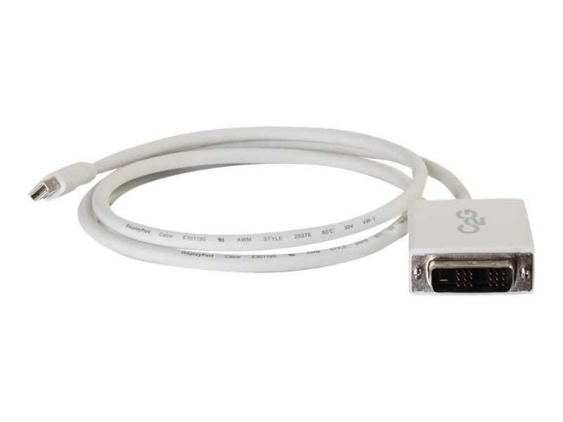 C2G Mini DisplayPort to Single Link DVI-D M M Adapter Cable, White, 6ft