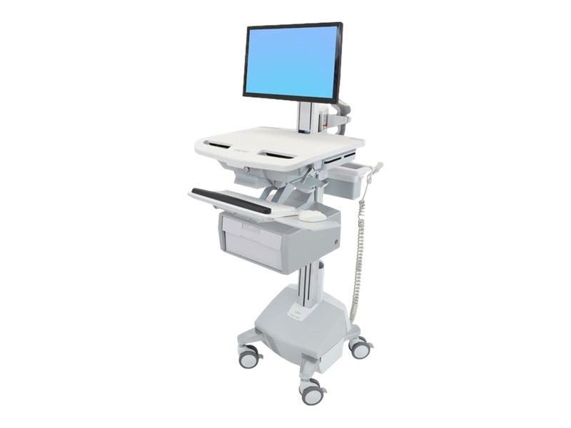 Ergotron StyleView Cart with LCD Pivot, LiFe Powered, 1 Tall Drawer, SV44-13B2-1, 31498083, Computer Carts - Medical