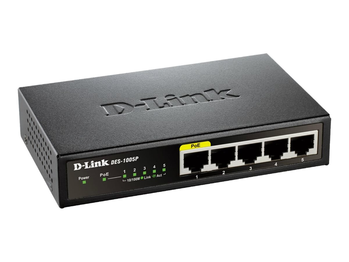 D-Link 5-port 10 100 Switch w  PoE Port, DES-1005P
