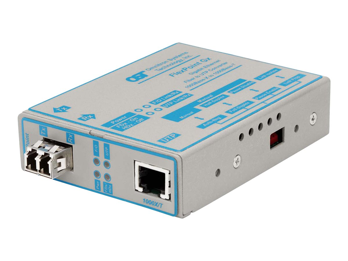 Omnitron FlexPoint 1000Base-T 1000Base-LX MM LC 850NM 220M Universal AC Power, 4672-2, 11001851, Network Transceivers