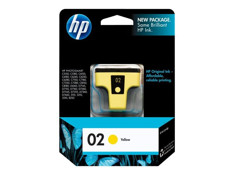 HP 02 (C8773WN) Yellow Original Ink Cartridge, C8773WN#140, 7885438, Ink Cartridges & Ink Refill Kits