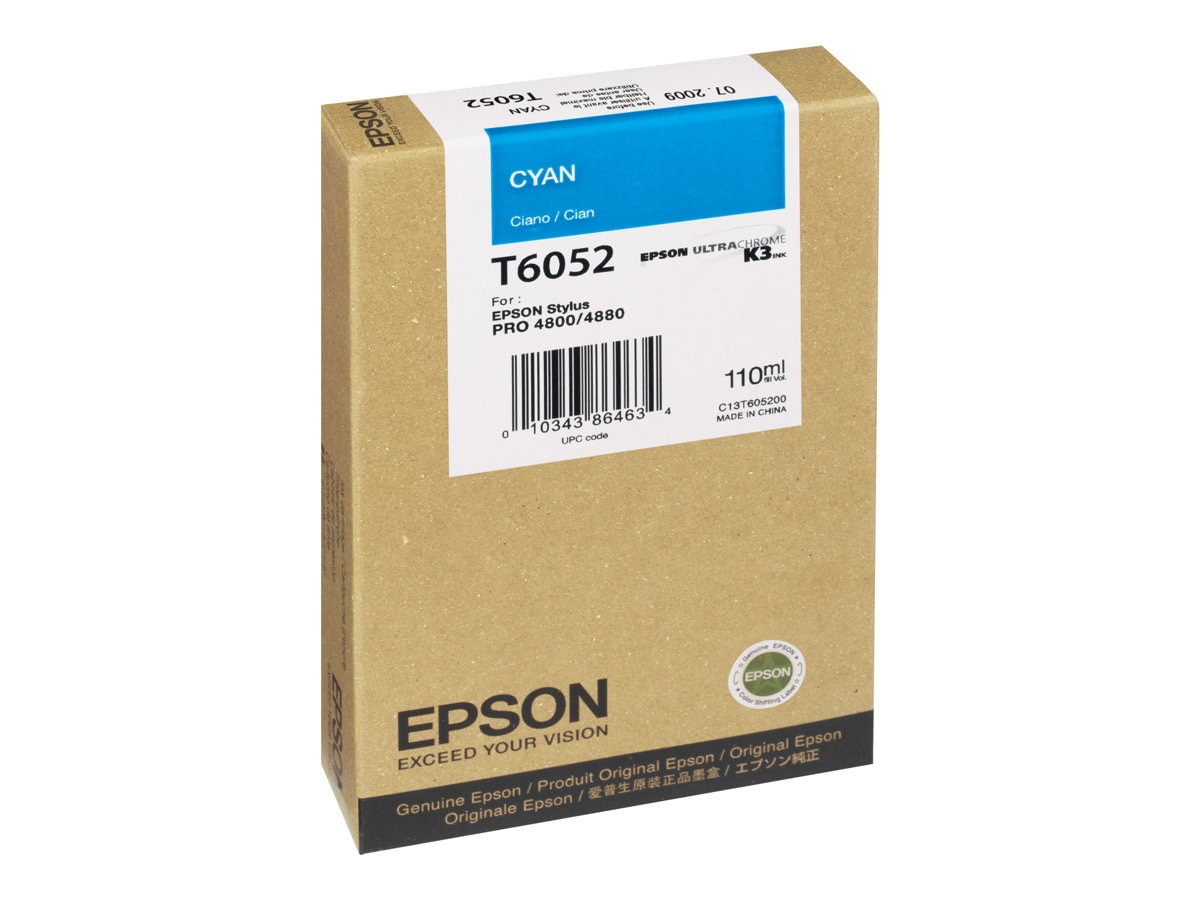 Epson Cyan UltraChrome K3 Ink Cartridge for Stylus Pro 4880 Series Printers- 110ml