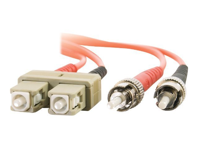 C2G Fiber Patch Cable, SC-ST, 50 125, Duplex, MM, Orange, 10m, TAA