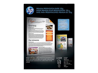 HP 8.5 x 11 120 gsm Premium Glossy Presentation Paper (250 Sheets), CG988A, 11080309, Paper, Labels & Other Print Media