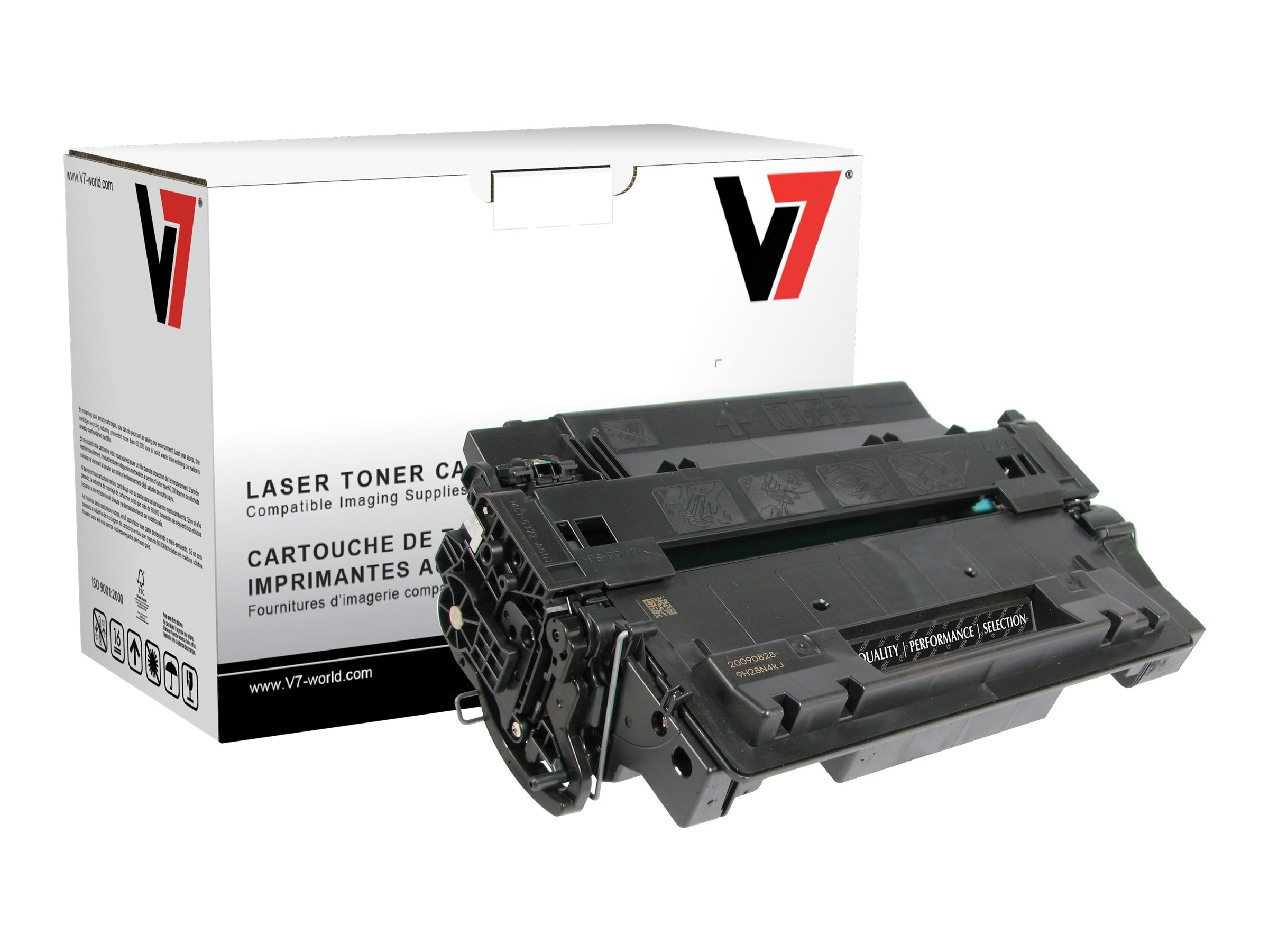 V7 CE255X Black High Yield Toner Cartridge for HP LaserJet P3015 (TAA Compliant), THK255XH