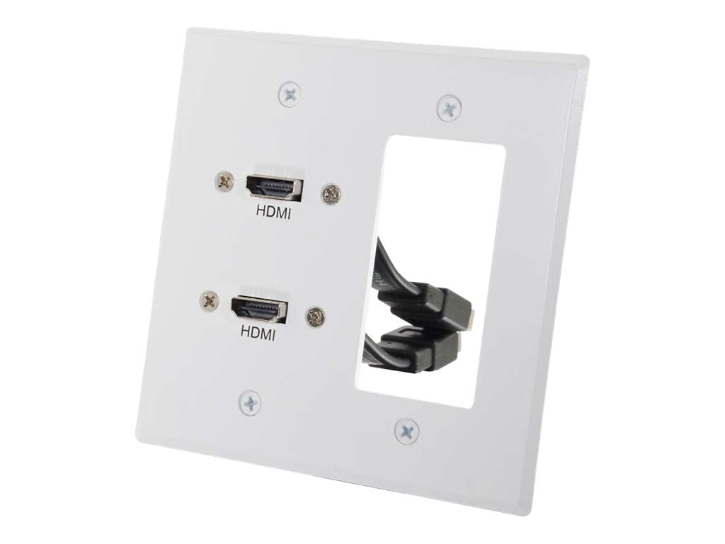C2G Dual HDMI Pass Through Double Gang Wall Plate with One Decora Compatible Cutout, White