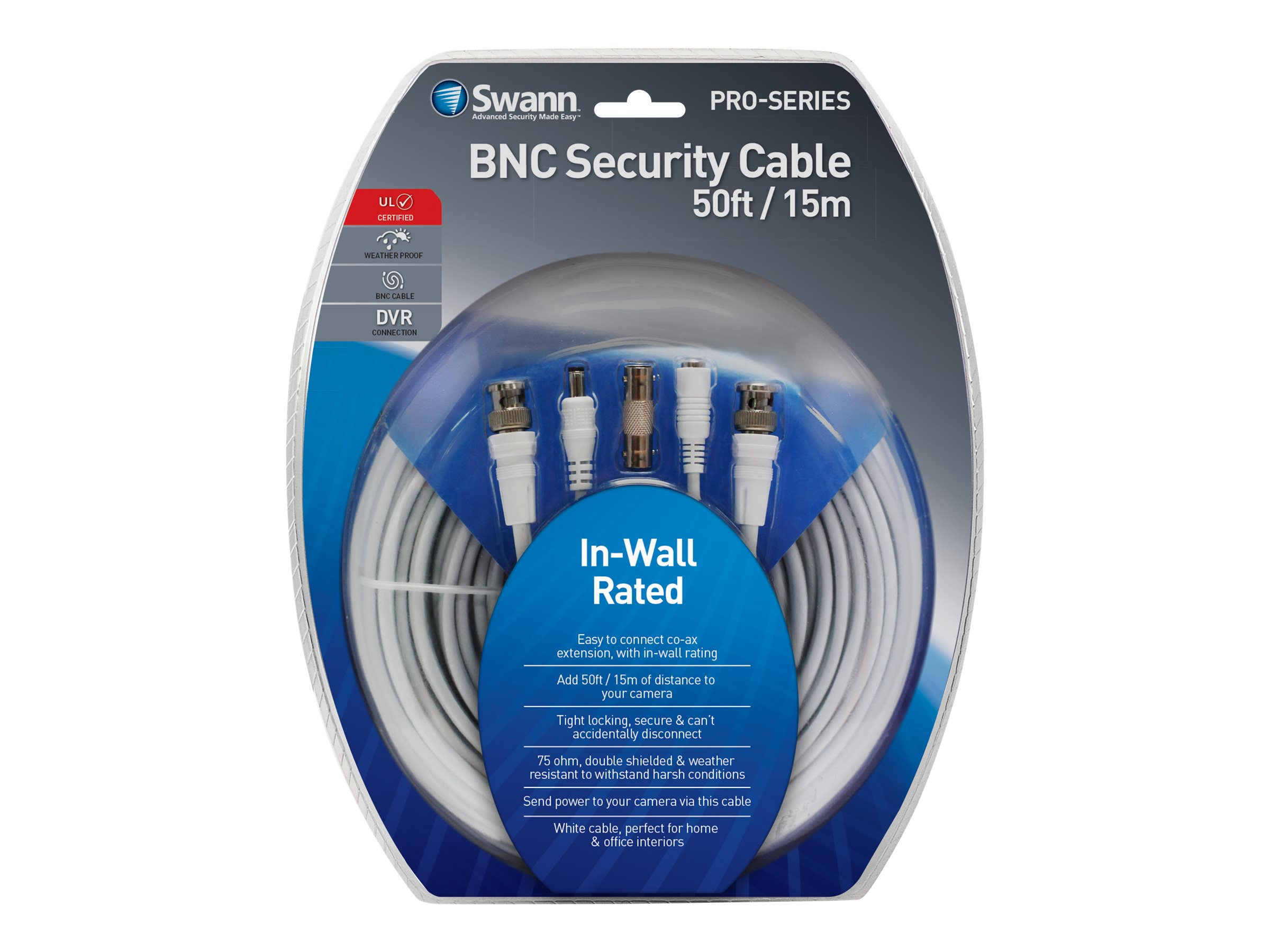Swann In-Wall Fire Rated BNC Extension Cable, 50ft, SWPRO-15MFRC-GL, 31190100, Cables