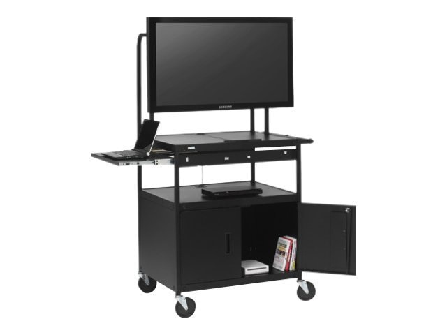 Bretford Manufacturing Wide Body LCD Carty for Monitors up to 75lbs. with 6-Outlet Electrical Unit, FP42MULC-E5BK, 13503491, Computer Carts