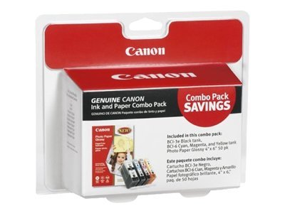 Canon BCI-3e Ink Cartridge Multipack w  4 x 6 Glossy Photo Paper, 4479A292, 6821125, Ink Cartridges & Ink Refill Kits