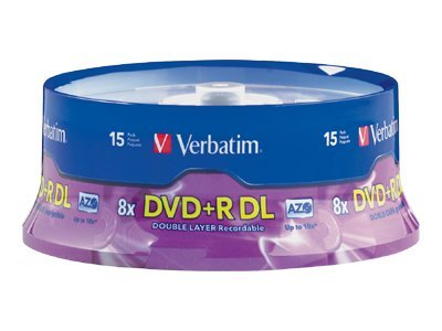 Verbatim 8x 8.5GB Branded DVD+R DL Media (15-pack), 95484, 9678070, DVD Media