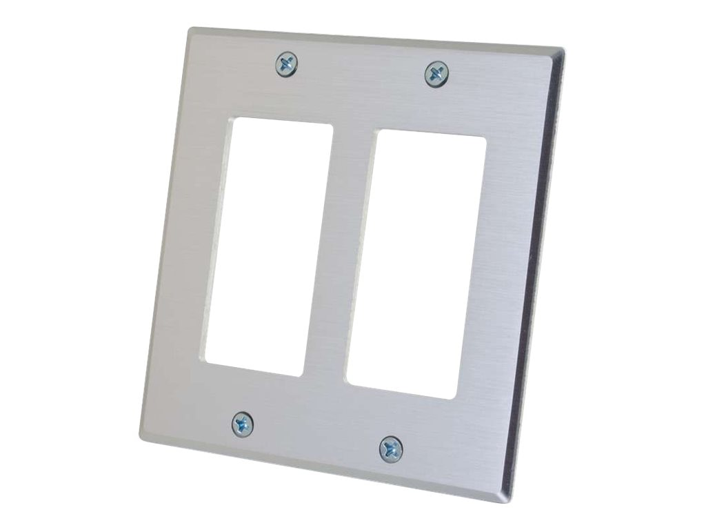 C2G Two Decora Compatible Cutout Double Gang Wall Plate, Aluminum
