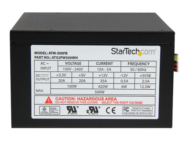 StarTech.com 500 Watt ATX12V 2.3 80 Plus Computer Power Supply w  Active PFC, ATX2PW500WH