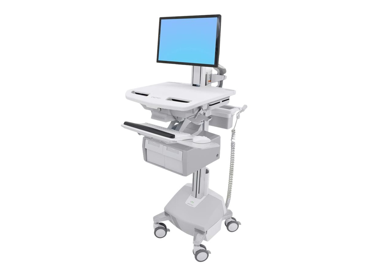 Ergotron StyleView Cart with LCD Pivot, LiFe Powered, 2 Tall Drawers, SV44-13C2-1
