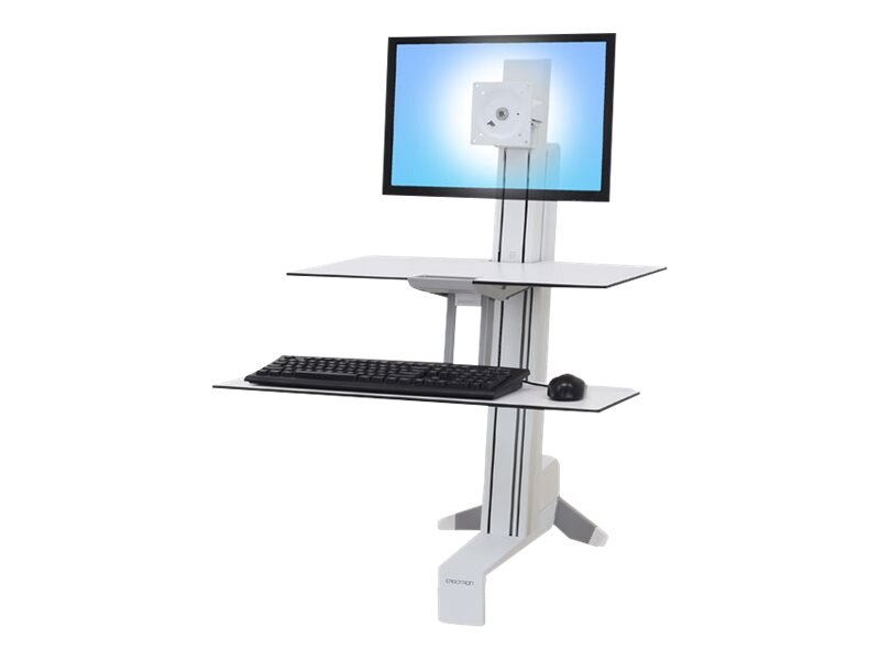Ergotron WorkFit-S Single LD with Worksurface+, White, 33-350-211