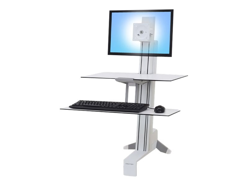 Ergotron WorkFit-S Single LD with Worksurface+, White, 33-350-211, 27125111, Stands & Mounts - AV