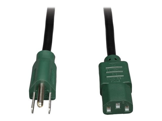 Tripp Lite Power Cord , 18AWG, NEMA 5-15P to C13, 4ft, Green, P006-004-GN, 13556534, Power Cords