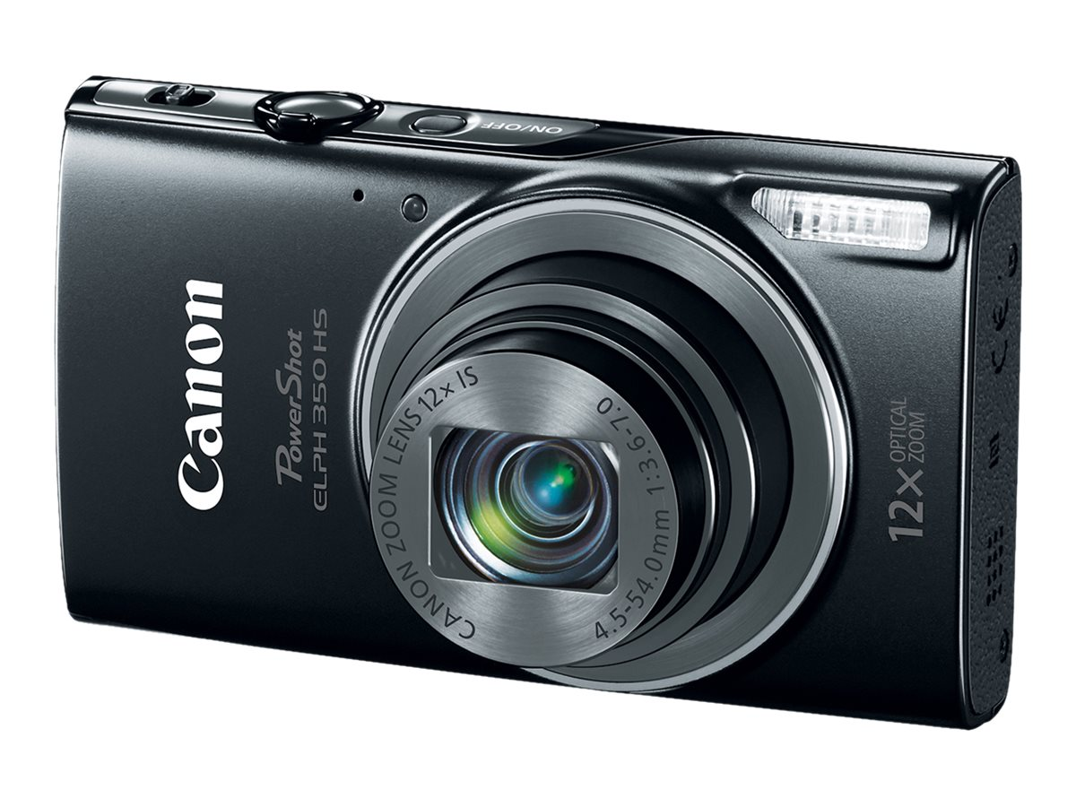 Canon PowerShot ELPH 350 HS, 20.2MP, 12x Zoom, Black, 0154C001, 23202676, Cameras - Digital - Point & Shoot