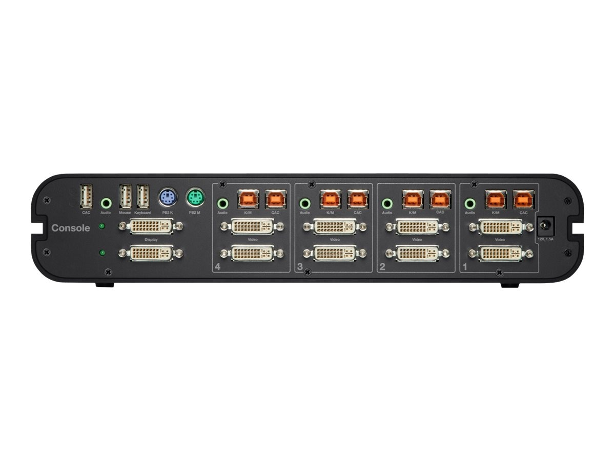 Belkin OmniView Secure 4-Port Dual Head DVI-I KVM, CAC Support, F1DN104F