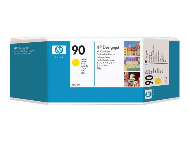 HP 90 Yellow Ink Cartridges for HP DesignJet 4000 Series Printers - 400-ml (3-pack), C5085A, 5718530, Ink Cartridges & Ink Refill Kits