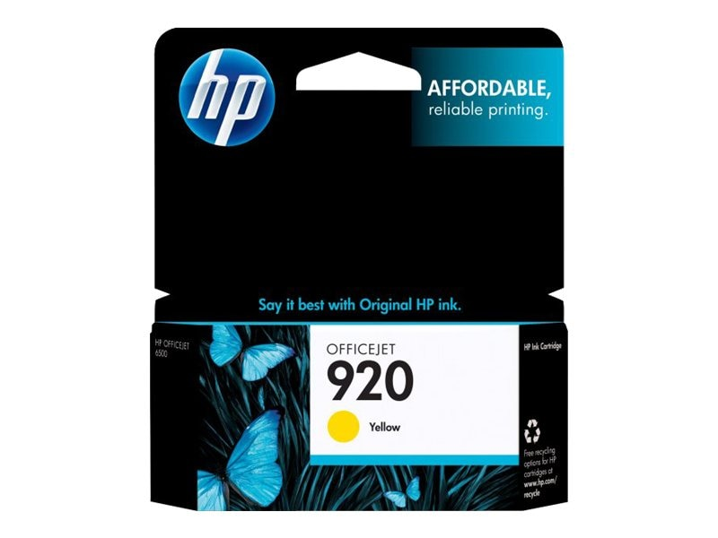 HP 920 (CH636AN) Yellow Original Ink Cartridge, CH636AN#140, 9257232, Ink Cartridges & Ink Refill Kits