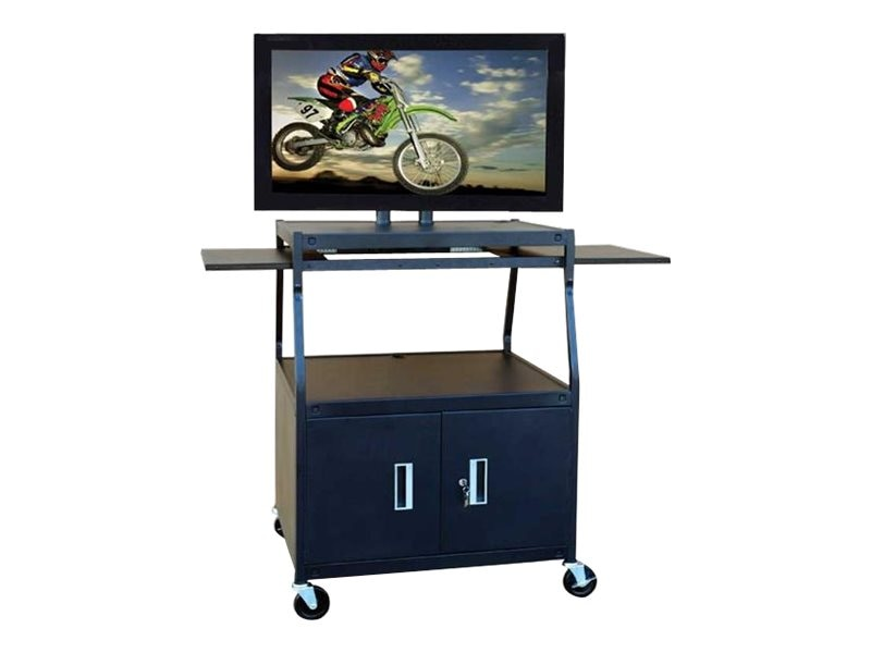 "Buhl AV Flat Panel AV Cart with Locking Cabinet, Adjustable 26-42"", PLCAB44E, 8651043, Computer Carts"
