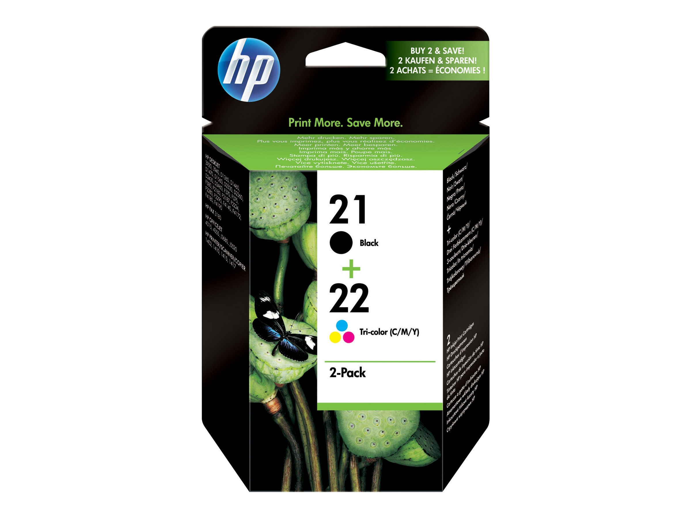 HP 21 (C9509FN) Black 22 Tri-color 2-pack Original Ink Cartridges