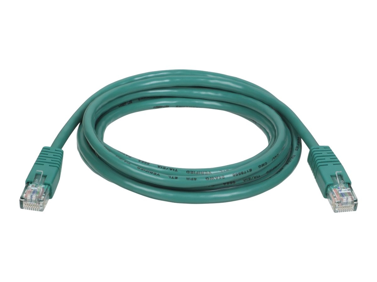 Tripp Lite Cat5e RJ-45 M M 350MHz Molded Patch Cable, Green, 10ft, N002-010-GN, 169164, Cables