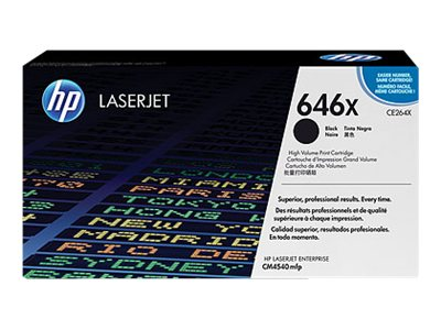 HP 646X (CE264X) High Yield Black Original LaserJet Toner Cartridge for HP LaserJet CM4540 MFP Series