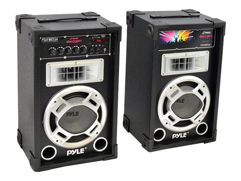 Pyle Dual 800 Watt Disco Jam Powered Two-Way PA Speaker System with USB SD Card Readers, FM Radio, PSUFM835A