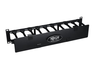 Tripp Lite High Capacity Horizontal Cable Manager Finger Duct with Dual-hinge Cover, 2U x 19, Black, SRCABLEDUCT2UHD, 13480402, Rack Cable Management