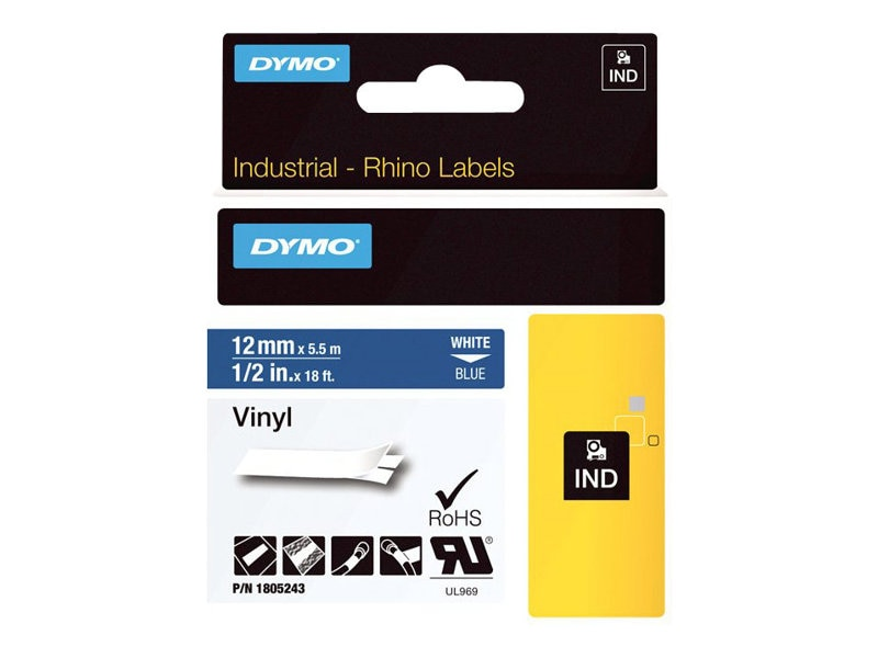 DYMO 1 2 Rhino Blue Vinyl Labels, 1805243