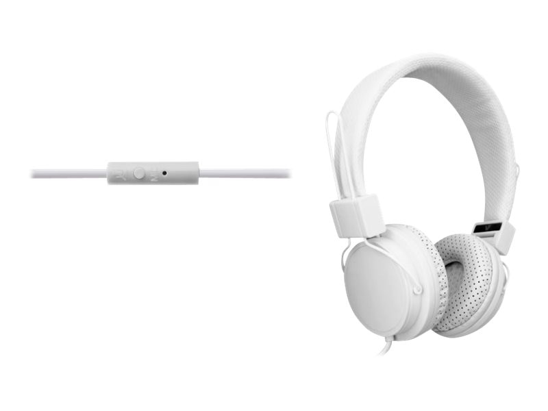 V7 3.5mm Dynamic Stereo On Ear Headphones w  Omni Directional Mic & Adjustable Band - White, HS2000-35-WHT-9NC, 17013772, Headsets (w/ microphone)