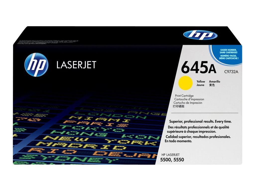 HP 645A (C9732A) Yellow Original LaserJet Toner Cartridge for HP Color LaserJet 5500 Printers, C9732A, 403946, Toner and Imaging Components
