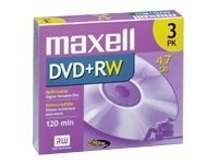 Maxell 4.7GB DVD+RW Media (3-pack), 634043, 4905229, DVD Media
