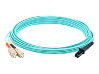 ACP-EP SC to MT-RJ OM3 Multimode Fiber Duplex Patch Cable, Aqua, 15m