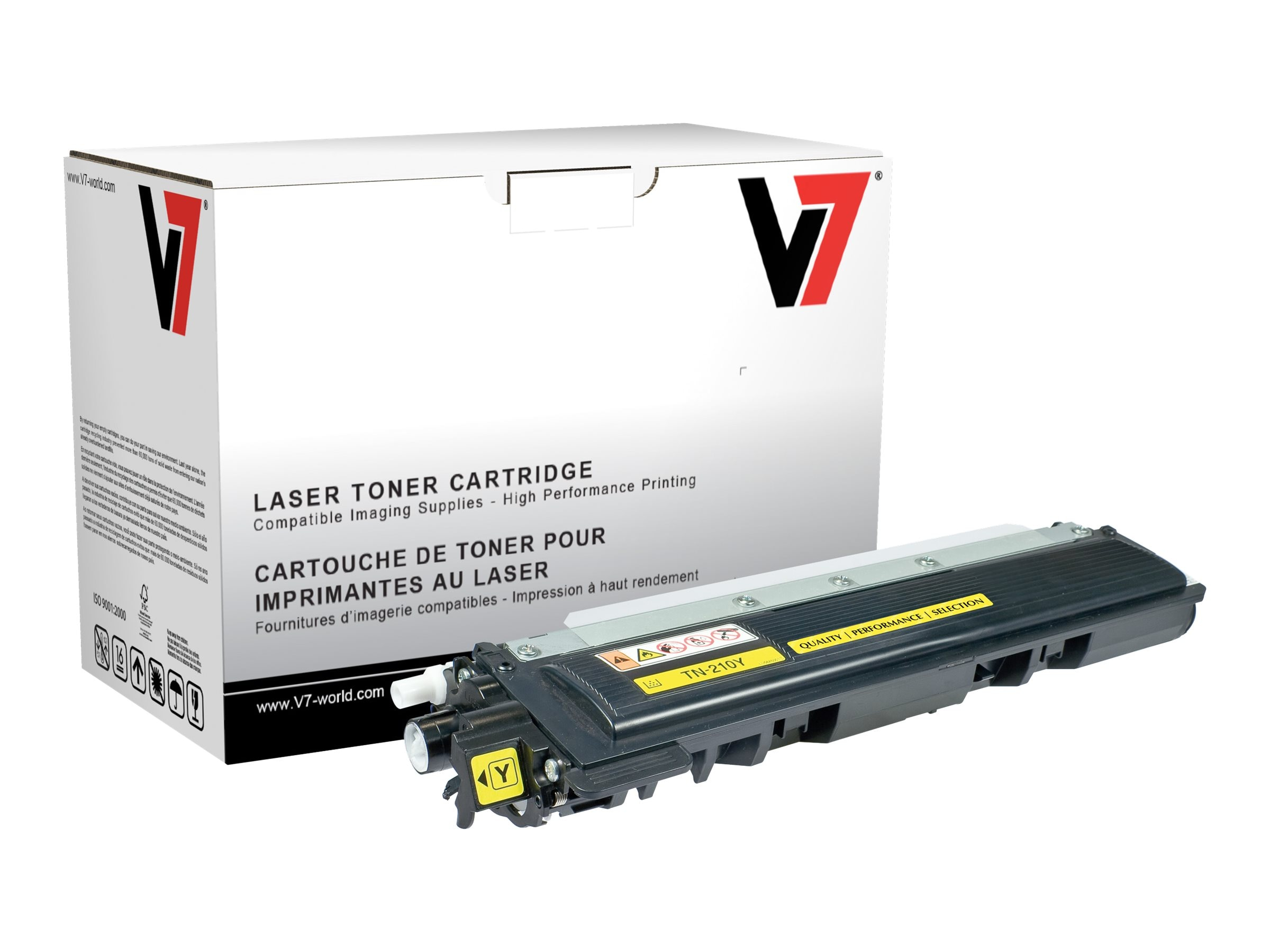 V7 TN210Y Yellow High Yield Toner Cartridge for Brother HL-4040 (TAA Compliant)