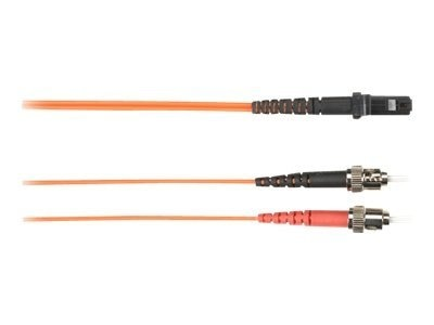 Black Box Fiber Optic Cable, 62.5 125, ST-MTRJ, Multimode, Plenum, Orange, 1m