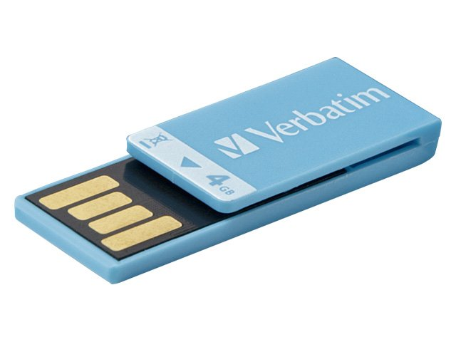 Verbatim 4GB Clip-It USB 2.0 Flash Drive, Blue
