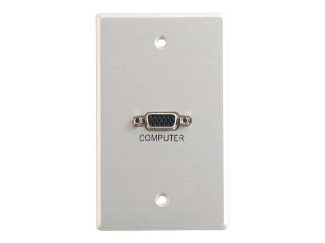 C2G Single-Gang HD15 Wall Plate Brushed Aluminum, 40542, 11005667, Premise Wiring Equipment