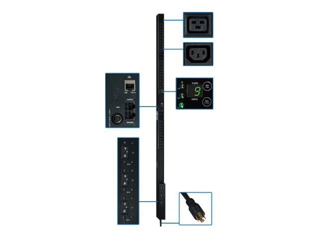 Tripp Lite PDU 3-Phase Monitored 208V 8.6kW L21-20P (30) C13 (6) C19 0U RM, PDU3VN3L2130, 12428311, Power Distribution Units