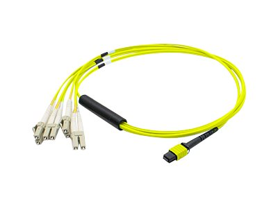 ACP-EP MPO to 4xLC Duplex Fanout SMF Patch Cable, Yellow, 1m, ADD-MPO-4LC1M9SMF, 17950871, Cables