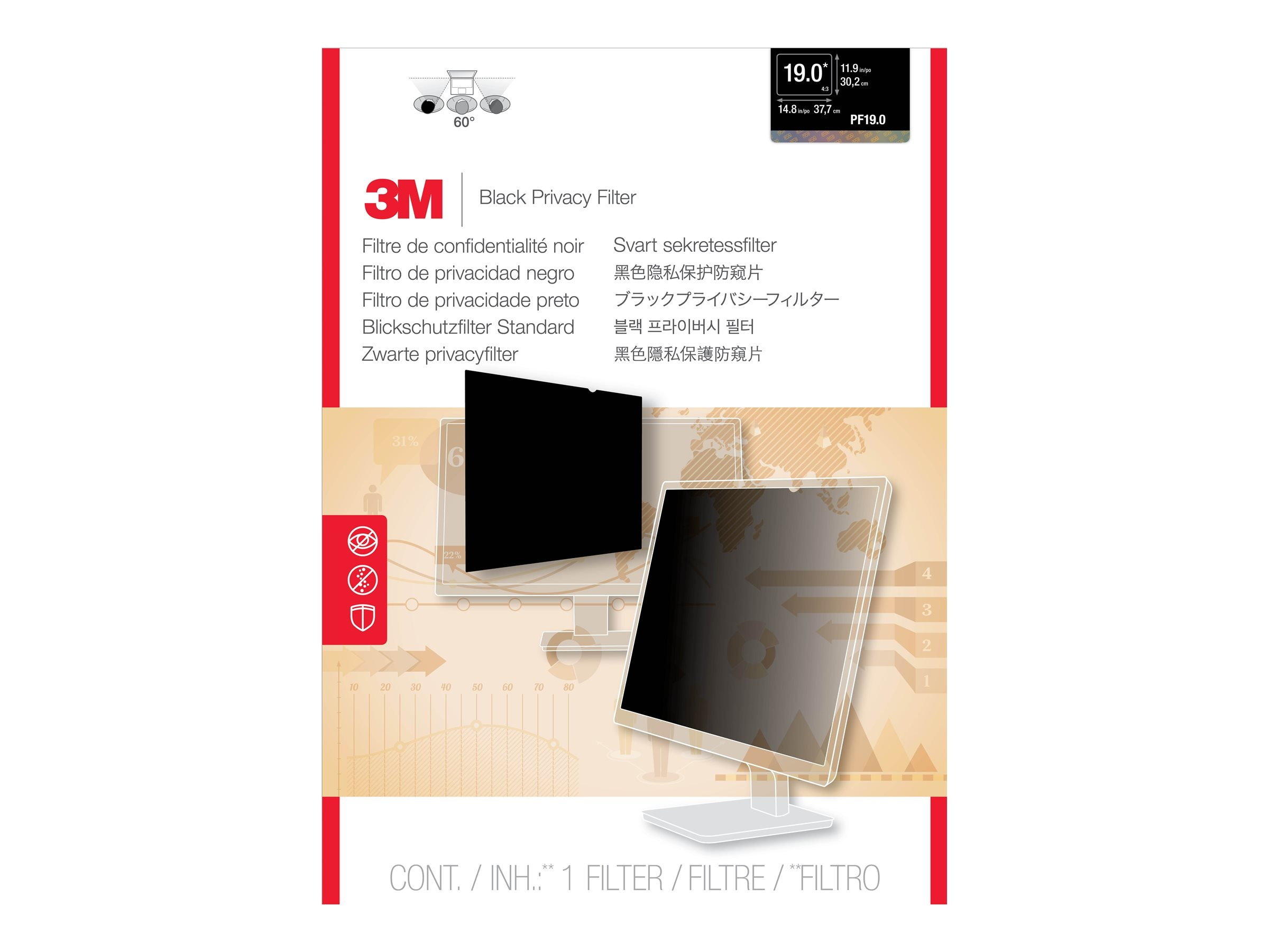 3M 19 5:4 Standard LCD Privacy Computer Filter, PF19.0, 5128978, Glare Filters & Privacy Screens