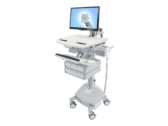 Ergotron StyleView Cart with LCD Arm, LiFe Powered, 6 Drawers, SV44-1262-1