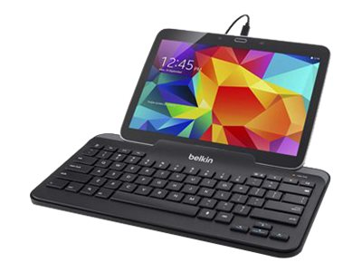 Belkin Wired Tablet Keyboard w  Stand, micro-USB Connector, Black, B2B132