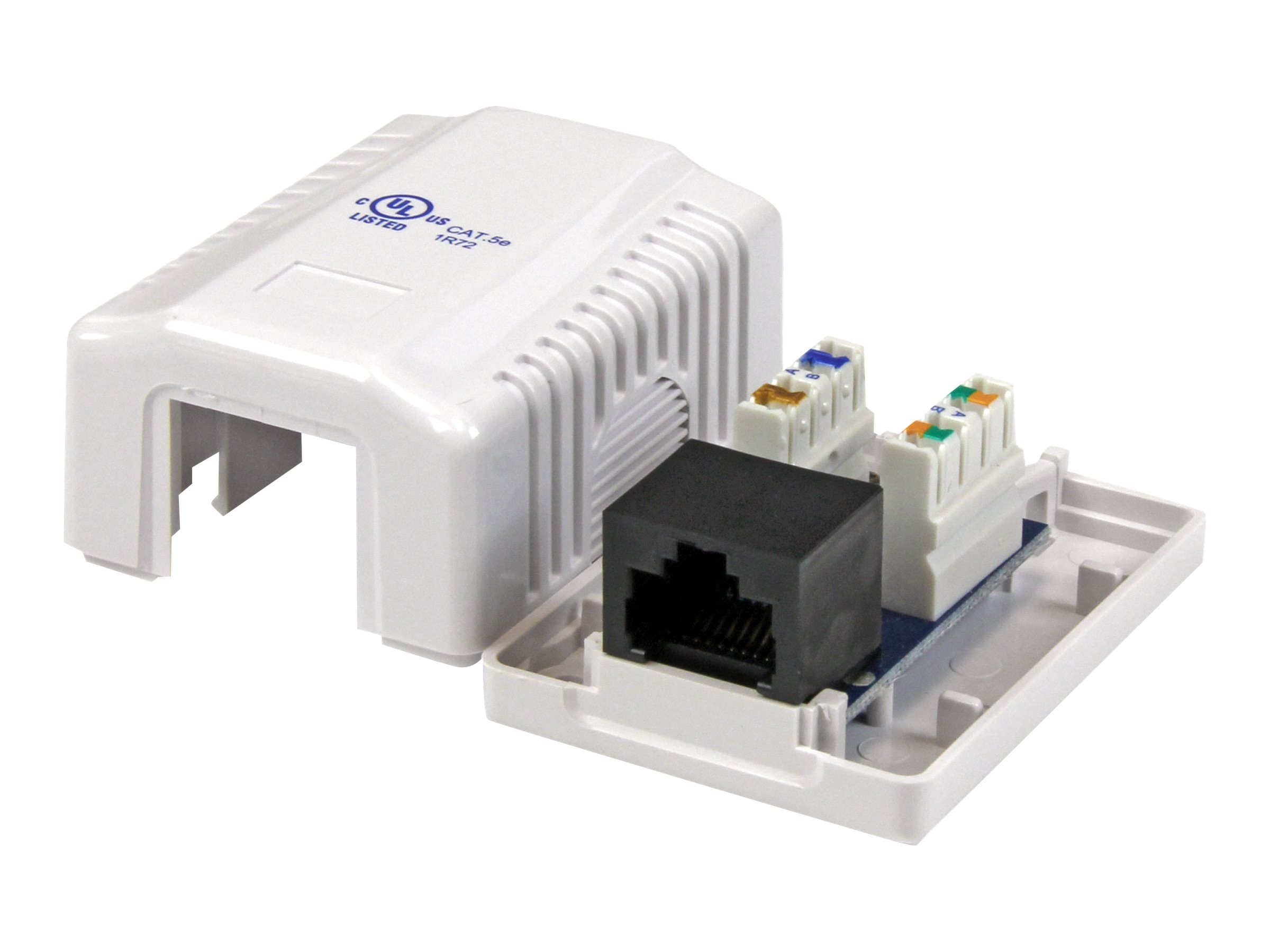 StarTech.com Single Cat5e RJ-45 Wall Box, Keystone Jack, White